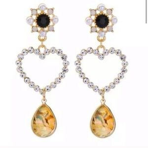 Betsey Johnson Abalone Heart Earrings